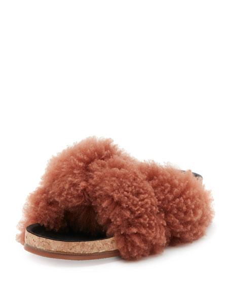 Chloe Shearling Fur Flat Slide Sandal