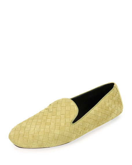 Bottega Veneta Intrecciato Suede Smoking Slipper, Gold