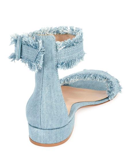 Lola Flat Frayed Denim Sandal