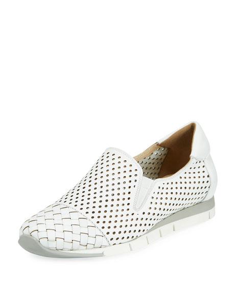 Sesto Meucci Caria Woven Perforated Sneaker, White