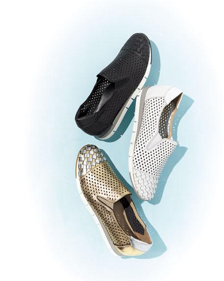 Caria Woven Perforated Metallic Sneakers