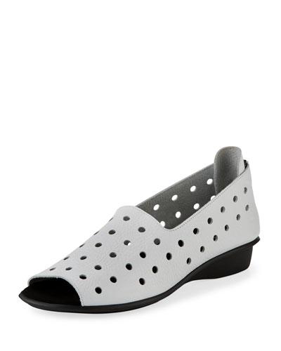 Edwina Perforated Open-Toe Slip-On, White