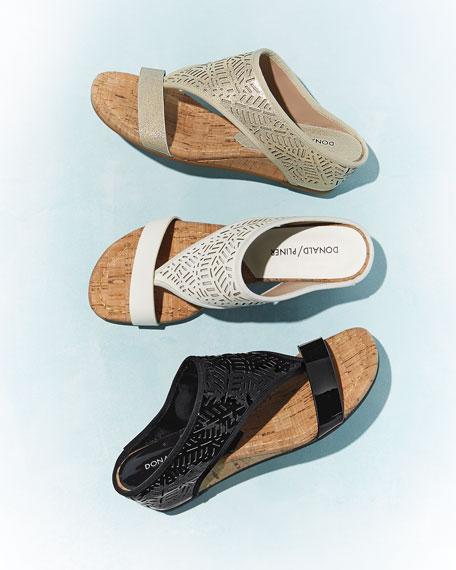 Darin Laser-Cut Demi-Wedge Sandal, Platino