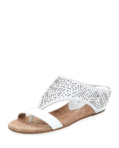 Darin Laser-Cut Demi-Wedge Sandal, White