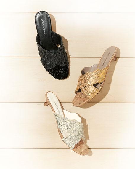 Elly Metallic Kitten-Heel Mule Sandal