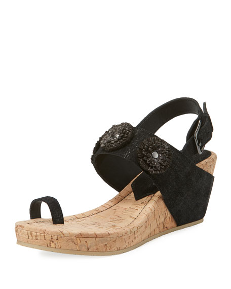 Gilly Floral Cork-Wedge Metallic Suede Sandal
