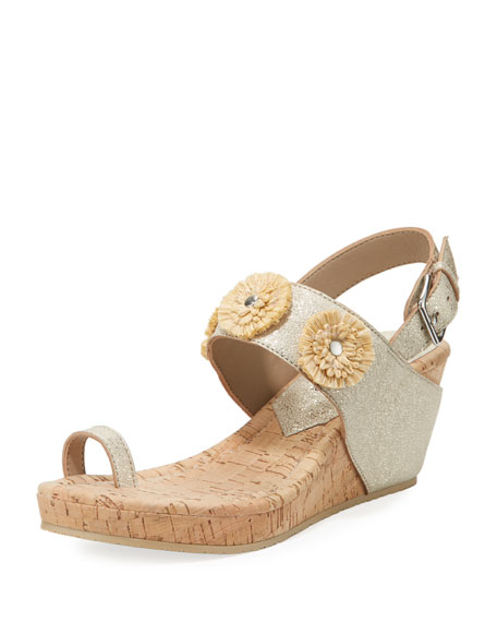 Donald J Pliner Gilly Floral Cork-Wedge Metallic Leather