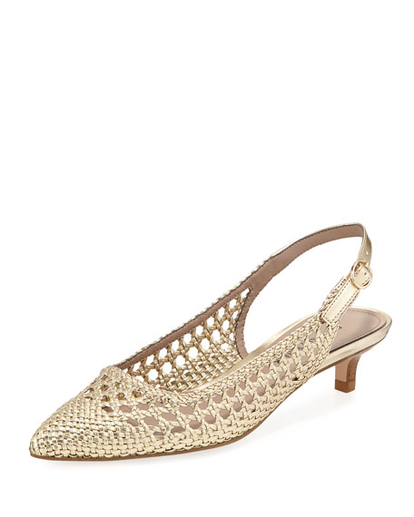 Donald J Pliner Ike Woven Metallic Leather Kitten-Heel
