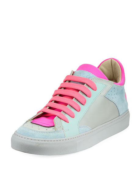 Neon Low-Top Lace-Up Sneakers