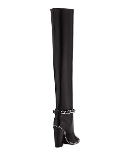 Doll Thigh-High Chain Leather Boot