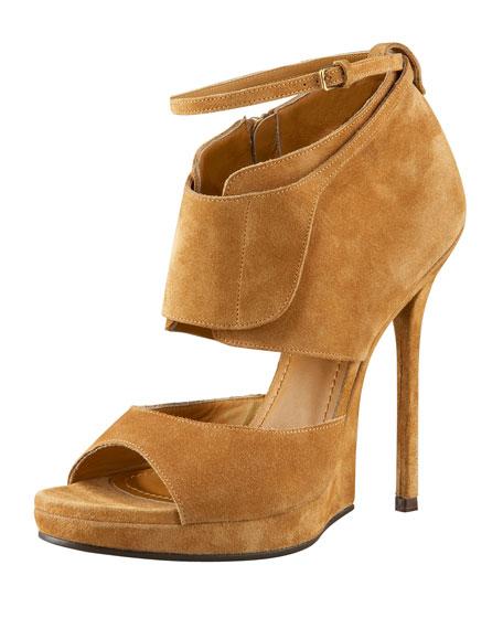 Saint Laurent Half-Wedge Ankle-Wrap Sandal