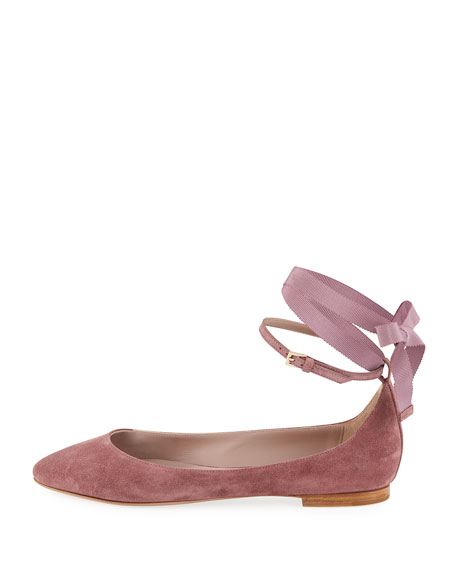 Suede Ankle-Wrap Ballet Flats