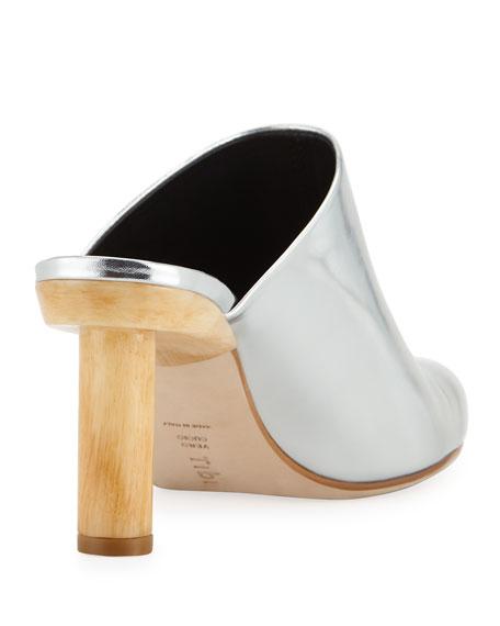Zoe Metallic Mule with Wooden Heel