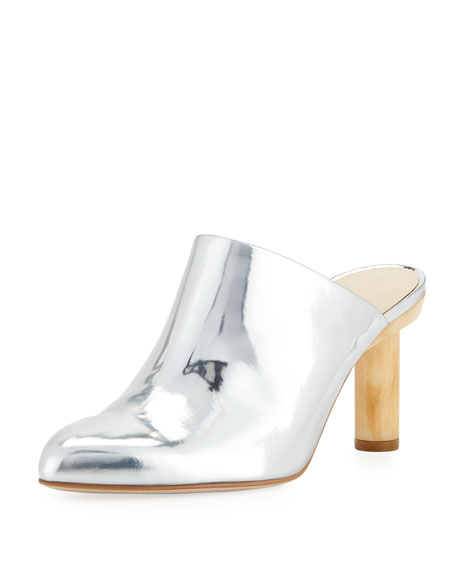 ZOE METALLIC MULE WITH WOODEN HEEL