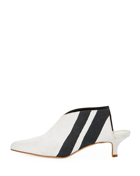 Jase Striped Canvas Mule