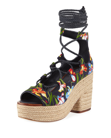 Tory Burch Positano Lace-Up Platform Espadrille