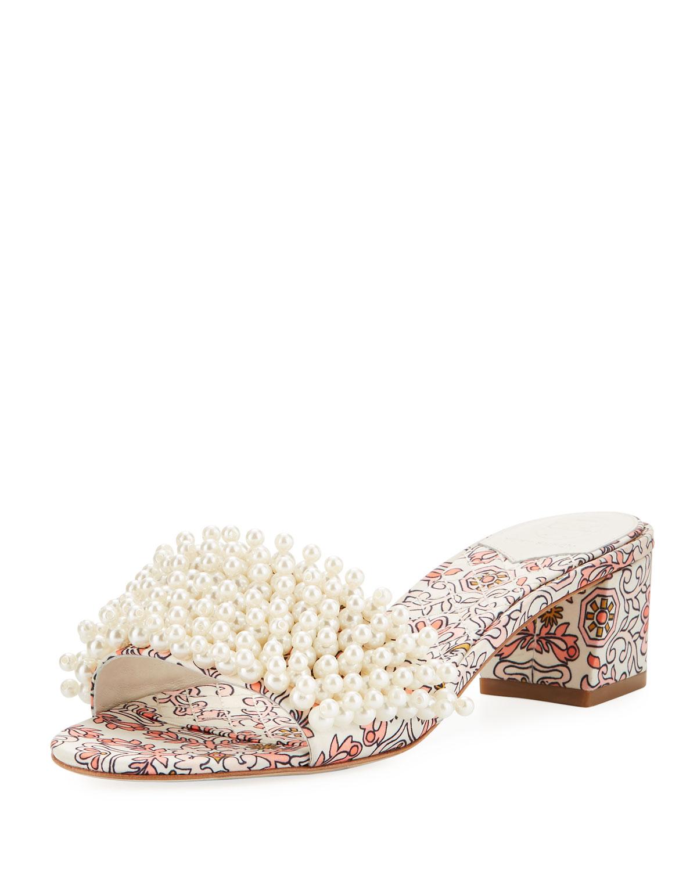 828b4c5517f Tory Burch Tatiana 45mm Pearly-Strap Garden Slide Sandal