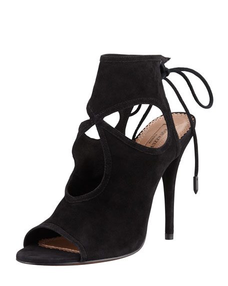 Aquazzura Sexy Thing Suede Cutout Sandal, Black