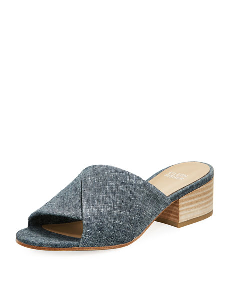 Eileen Fisher Ruche Denim Block Heel Slides tZ3rH