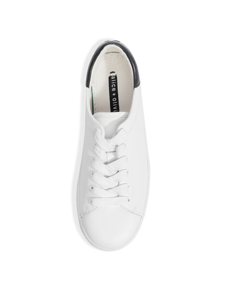 Ezra Lace-Up Platform Sneakers, White/Black
