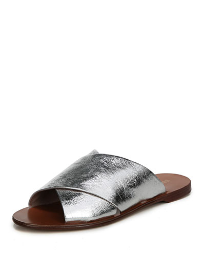 Bailie Crossover Metallic Leather Flat Slide Sandal