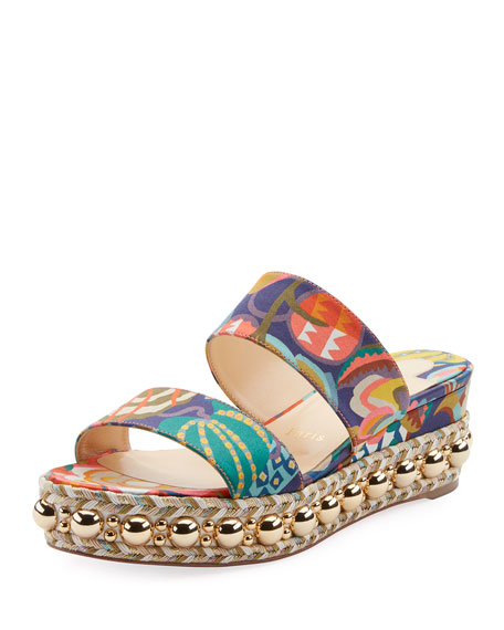Christian Louboutin Janitag Printed Satin Red Sole Slide