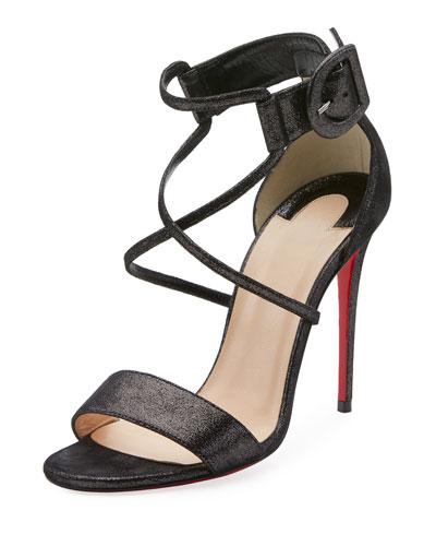 Choca 100mm Metallic Suede Red Sole Sandal