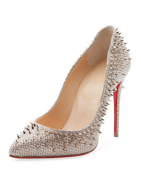 Escarpic 100mm Spiked Fabric Red Sole Pumps