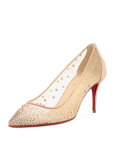 Christian Louboutin Follies 70mm Crystal Mesh Red Sole