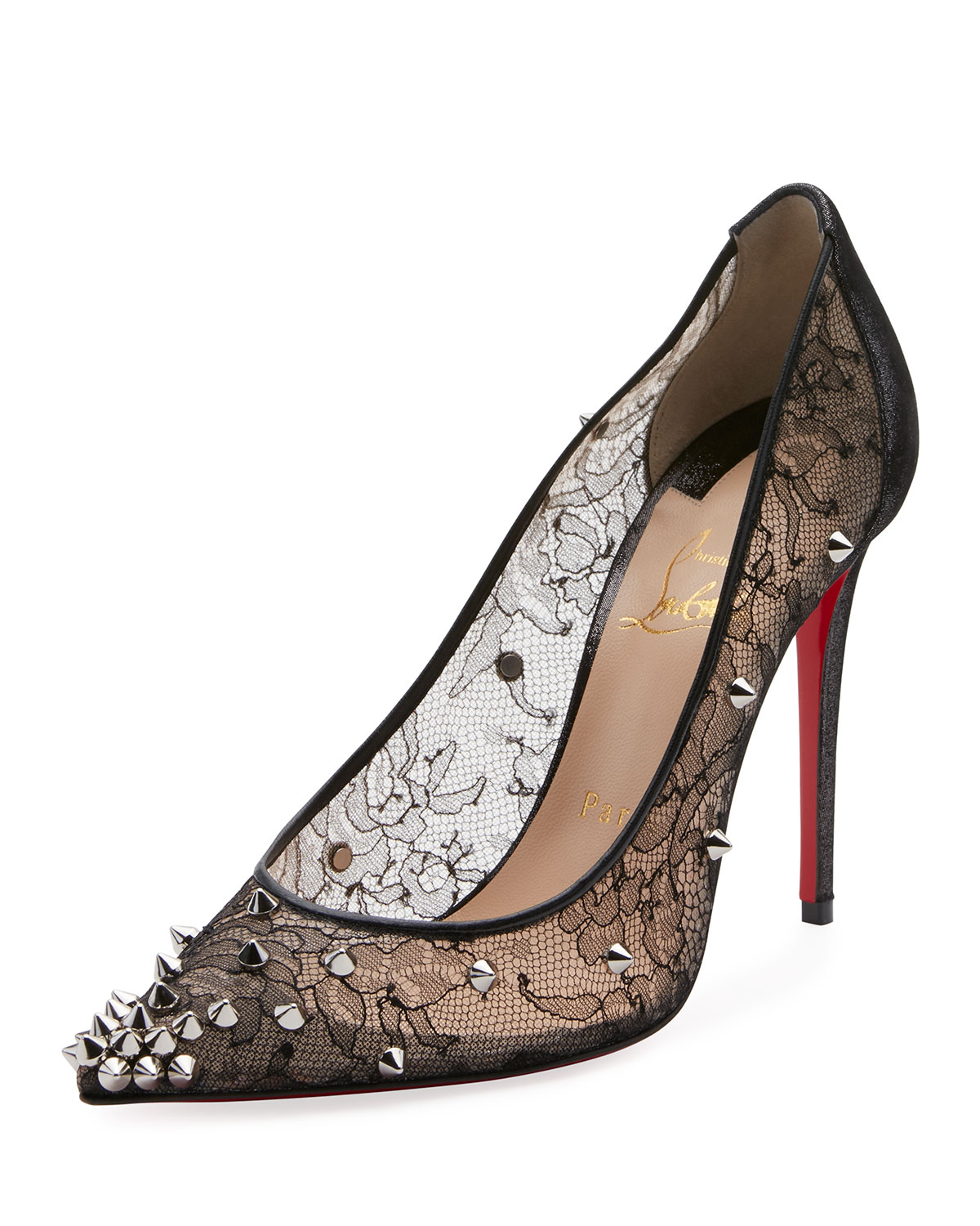 6f6a75bc114 Christian Louboutin Decollete 554 Spiked Lace Red Sole Pumps ...