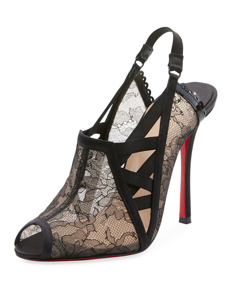 Christian Louboutin Guiptik Lace Slingback Red Sole Pumps