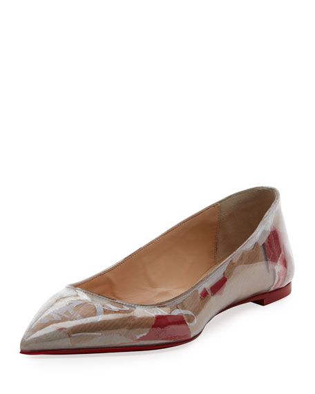 Christian Louboutin Ballalla Paper Collage Red Sole Ballerina