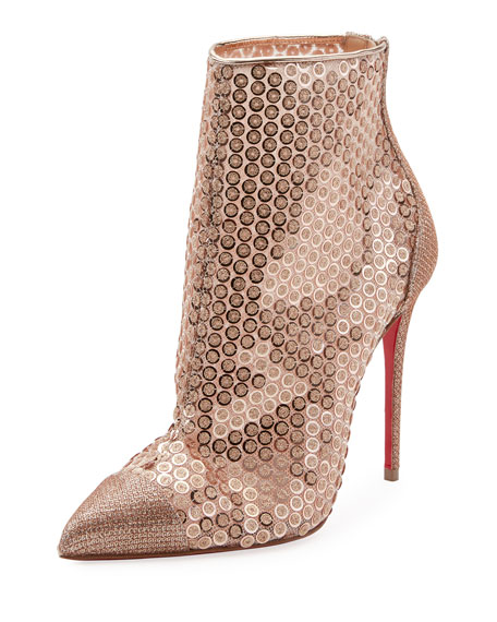 Christian Louboutin GipsyBooties Sequined Red Sole Ankle Boots