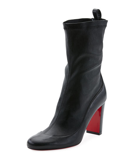 Christian Louboutin Gena Stretch Leather Mid-Heel Red Sole