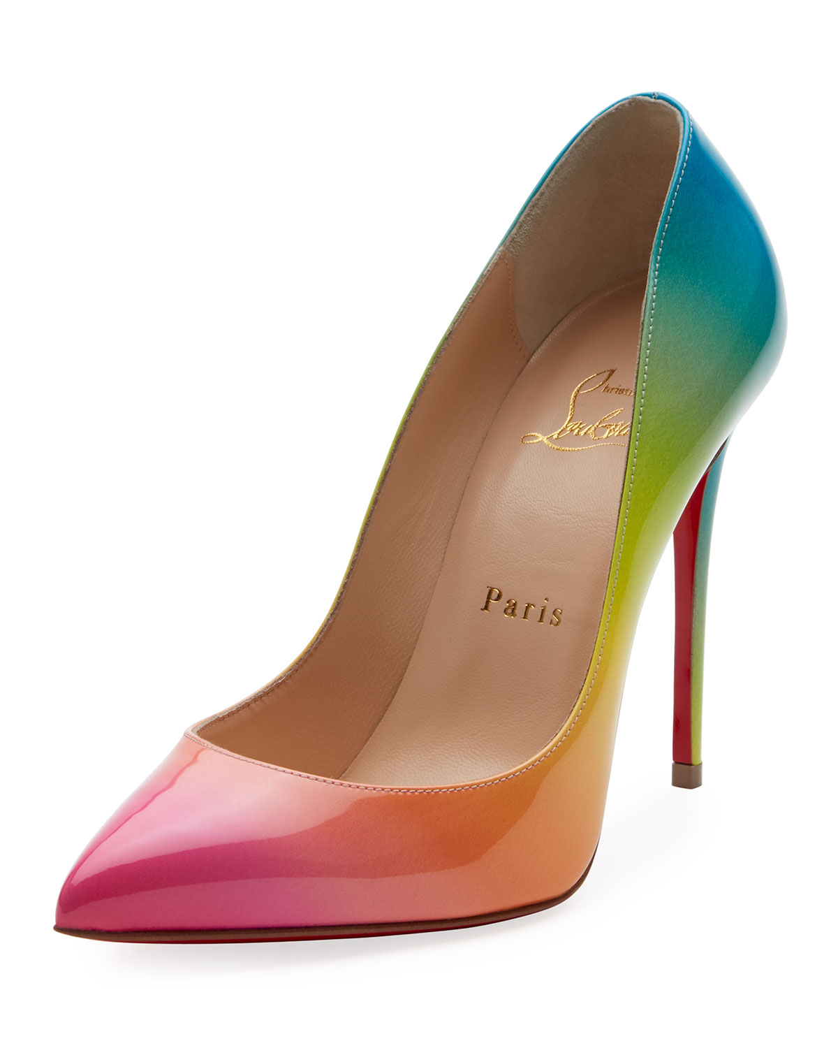 444c883fb355 Christian Louboutin Pigalle Follies 100mm Ombre Patent Red Sole Pumps
