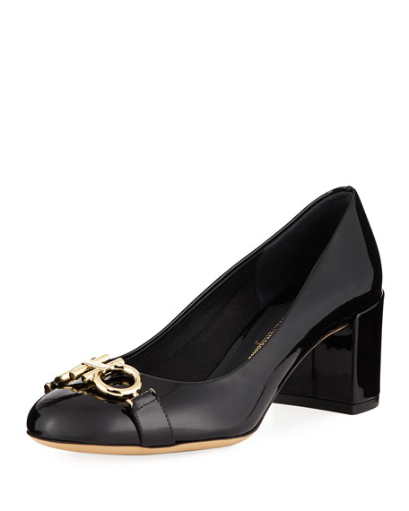 Gancini Patent 55mm Pumps, Nero