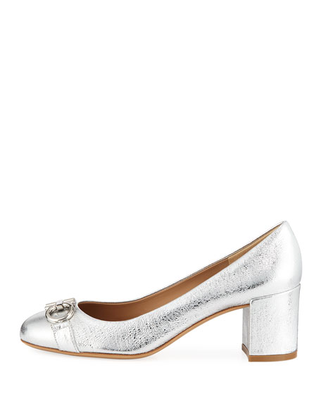 Gancini Metallic Leather 55mm Pumps