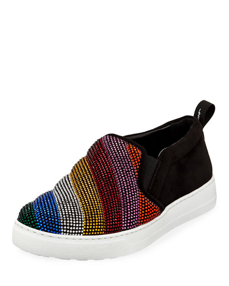 Salvatore Ferragamo Crystal Rainbow Flat Sneakers