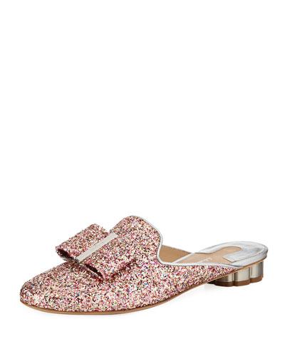 Tess Glitter Bow Slide Mule Flat with Flower Heel