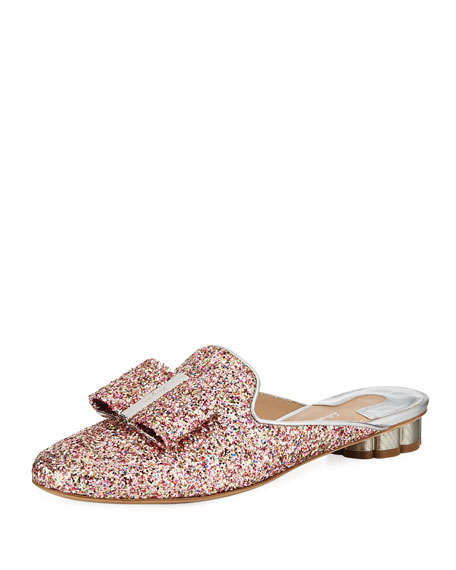 Tess Glitter Bow Slide Mule Flat with Flower Heel