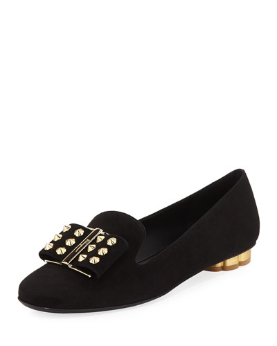 Flower-Studded Suede Bow Loafer