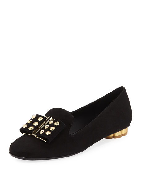 Salvatore Ferragamo Flower-Studded Suede Bow Loafer