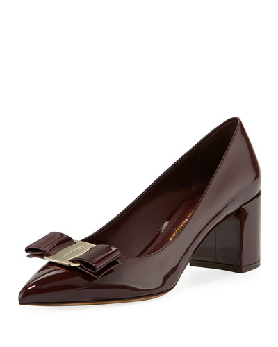 Patent Leather Block-Heel Bow Pointed-Toe Pump