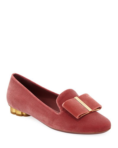 Sarno Velvet Loafers with Vara Bow