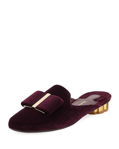 Velvet Bow Mule Slide Loafer