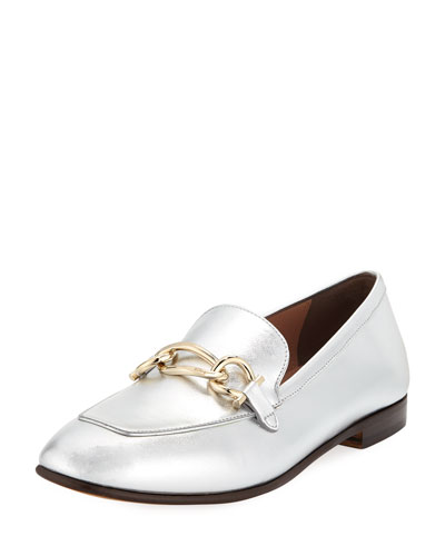 Metallic Leather Chain Bit Slip-On Loafers