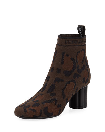 Leopard Printed Stretch-Knit Ankle Booties