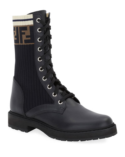Leather Combat Boot with FF Cuff