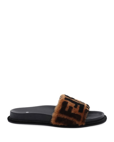 Fendi FF Fur Pool Slide Sandal