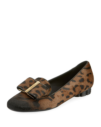 Leopard-Print Fur Bow Loafers